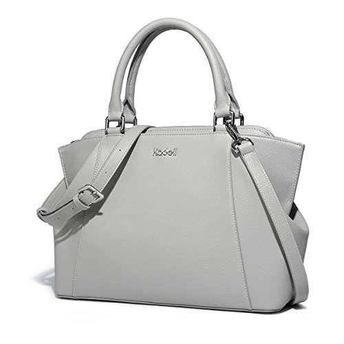 37bc908857e Kadell Womens Soft Leather Tote Hnadbag Shoulder Bag Medium Size Ladies Bags  with Long Strap Grey