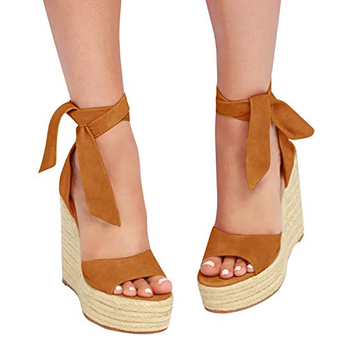 (Fashare Womens Open Toe Tie Lace Up Espadrille Platform Wedges Sandals Ankle Strap Slingback Dress Shoes Brown)