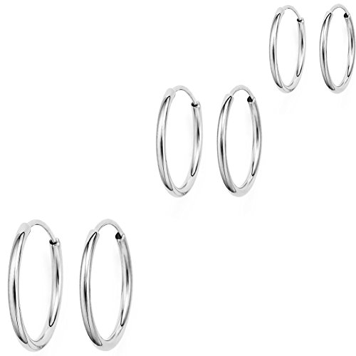 14k White Gold Endless Hoop Earrings (Three Pairs 10mm, 12mm, 14mm) (Earring 14k Set Hoop)