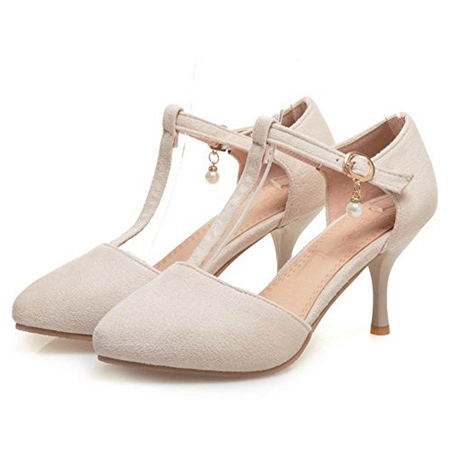 TAOFFEN Women Closed Toe Sandals T Strap Shoes for Summer Beige IGCEx3vEk