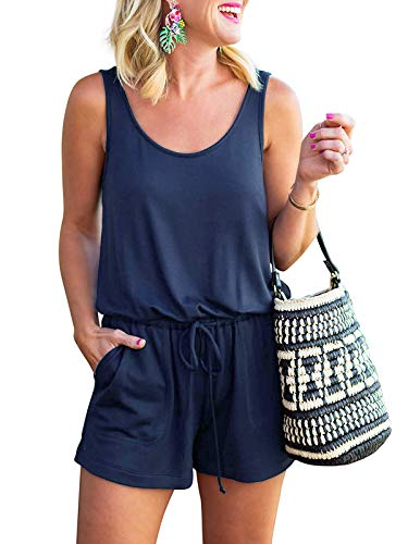 Govc Women Summer Casual Sleeveless Tank Top Short Jumpsuits Rompers with Pockets(Navy,XL)