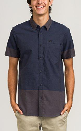 RVCA Men's Stop Start Short Sleeve Woven Shirt, Carbon, Large ()