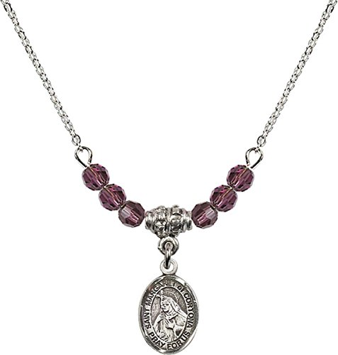 (February Birth Month Bead Necklace with Saint Margaret of Cortona Petite Charm, 18 Inch)