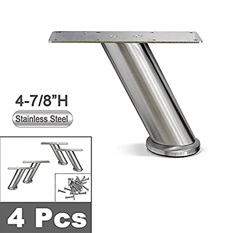 Stainless Steel Metal Sofa Legs, Furniture Legs, Angled Design, Round Tube,  4