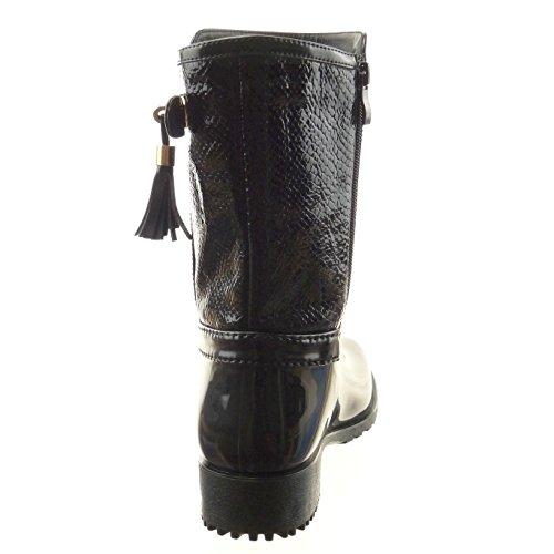 Sopily - damen Mode Schuhe Stiefeletten Stiefel Gummistiefel Schlangenhaut Schleife - Schwarz
