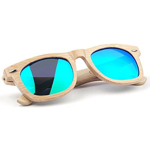la UV mano de de de color personalidad de sol de lente polarizada los hombres alta a playa calidad de de Gafas de TAC conducción pesca al Verde aire bambú del protección hecho Retro de gafas vacaciones sol 70S6q