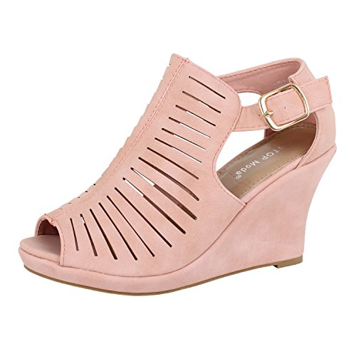 Womens Cutout Gladiator Open Toe Wedge Oxford-Flats, dkBlush, 9