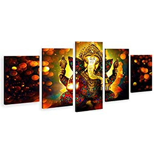 DJSYLIFE Extra Large Premium Quality Picture Canvas Wall Art – 5 Pieces Hindu God Ganesha Art Wall Home Decor HD Print Home Wall Hanging Art Prints Modular Pictures – Ready to Hang (80″ W x 40″ H)