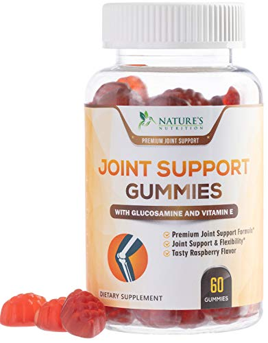 Joint Support Gummies Triple Strength Glucosamine & Vitamin E – Natural Joint Pain Relief Gummy – Made in USA – Best Vegan Anti Inflammatory & Immune Health Supplement for Men and Women – 60 Gummies