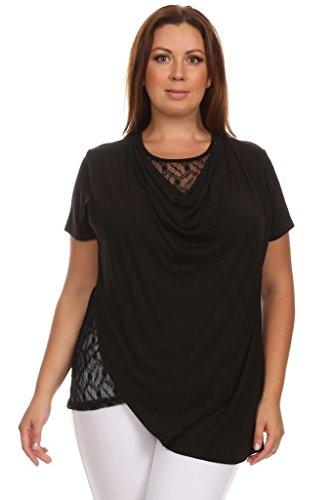 PB COUTURE Plus-Size Women's Cowl Neck Drape Two-Layer Lace Top 3X (22/24) Black