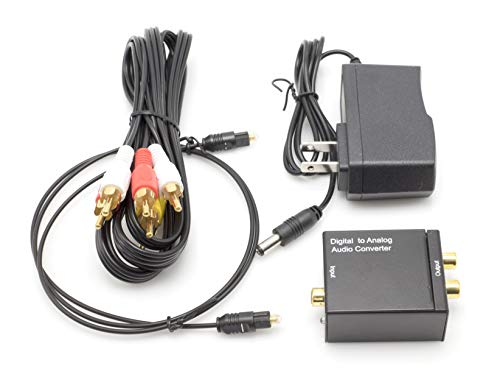 (THE CIMPLE CO - Digital Optical Audio Converter Kit | Digital Optical Coax to Analog RCA Audio Adapter with RCA and Toslink (Fiber) Cable - (Black))