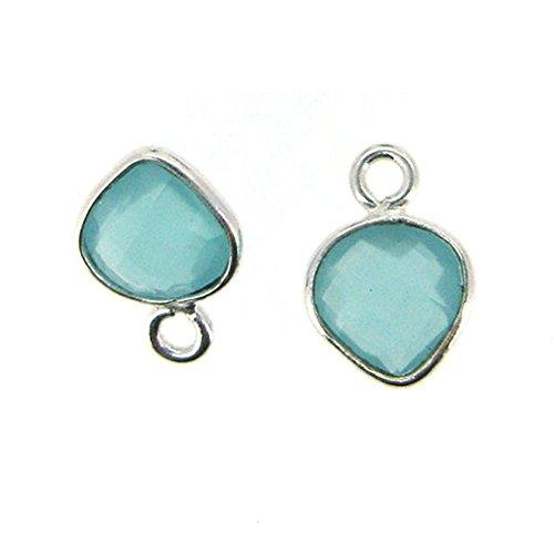 Bezel Gemstone Pendant - Tiny Heart Shape - 7 x 10mm - Sterling Silver Bezel Gem (2 pcs) (Peru Chalcedony)