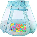 Indoor Polyester Play House Baby Ocean Ball Pit Pool Kids Princess Hexagonal Tent-blue