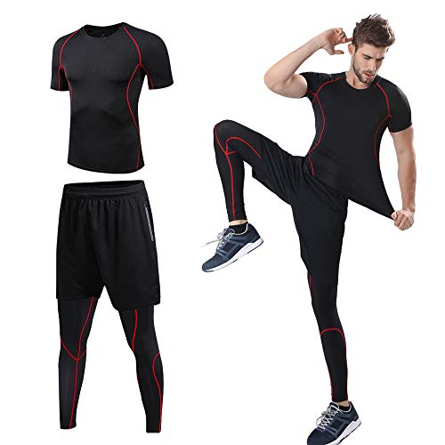 lixada 3 Pcs Men's Workout Set with Compression T-Shirt, Loose Fitting Shorts and Tight Leggings Pants for Running Cycling Basketball Yoga Hiking Gym Work Out (Red, CN XL=US L)