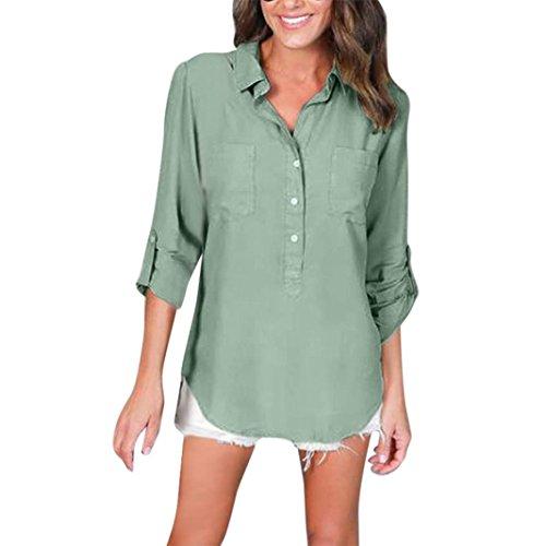 TOPUNDER Women's Long Sleeve Loose Blouse Casual Shirt Summer Tops T-Shirt (S, Green)