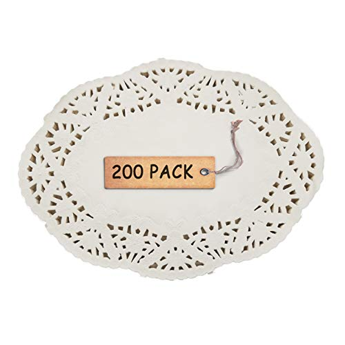 """SCHOLMART Floral Beige Off White Oval Doilies Paper for a Tea Party, Birthday or Baking Embossed Pattern 6.5"""", 8.5"""", 10.5"""" 200 Pieces (7.5 x 10.5 Inches Oval)"""