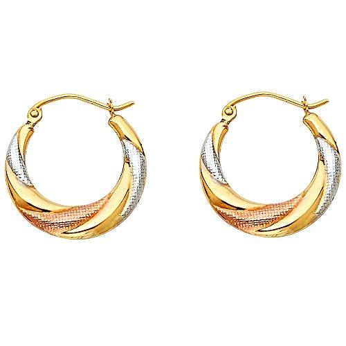 Hoop Fancy Twist - 14k Tri Color Gold Twist Fancy Hoop Earrings (20 x 20mm)