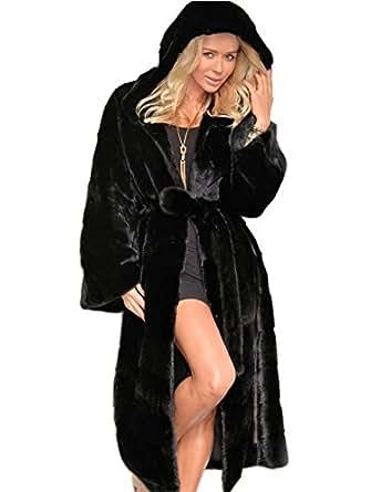 Aukmla Women's Winter Warm Long Faux Fur Overcoat Jacket