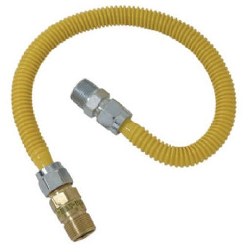 BrassCraft CSSC44R-24 P Safety PLUS Gas Appliance 5/8'' OD Connector with 1/2'' MIP EFV x 1/2'' MIP x 24''