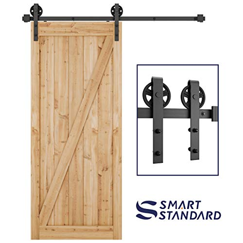 """SMARTSTANDARD 6ft Heavy Duty Sturdy Sliding Barn Door Hardware Kit - Smoothly and Quietly-Easy to Install-Includes Step-by-Step Installation Instruction Fit 36"""" Wide Door Panel(Big Industrial Hanger)"""