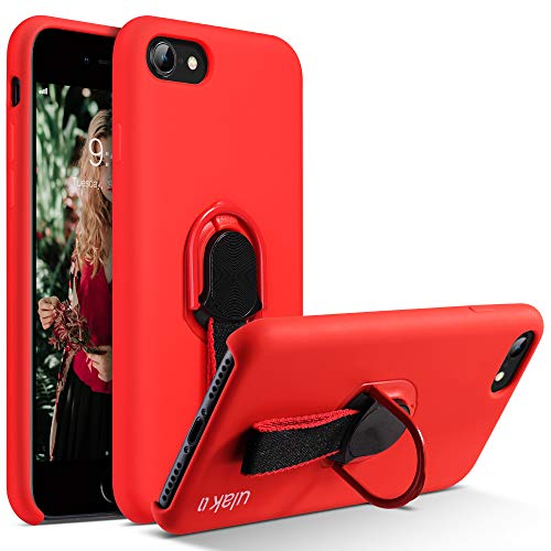 ULAK iPhone 7 Case, iPhone 8 Case, Slim Fit Liquid Silicone Ring Loop Holder Kickstand & Finger Strap, Rubber Gel Shockproof Protective Anti-Scratch Resistant Cover for iPhone 7/iPhone 8, Red