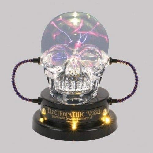 Home Accents Holiday 7.5 Inch Electropathic Vessel LED Light Up Plasma Ball Skull -