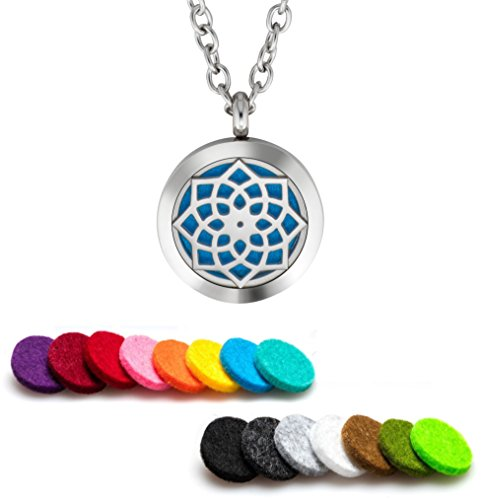 Plant Guru Essential Oil Diffuser Necklace Aromatherapy 25mm Stainless Steel Locket Pendant with 24 Inch Adjustable Chain, 15 Washable Refill Felt Pads. (Majestic)