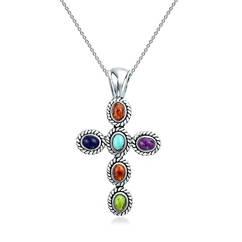 Southwestern Style Multi Color Gemstone Stones Bezel Set Cross Pendant Necklace For Women 925 Sterling Silver