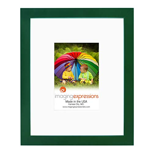 Imaging Expressions - Green Picture Frame 8x10 - Thick Beveled Mat to Display 4x6 Photos - Wall Hanging or Sturdy Easel for Tabletop Display - Made in The USA (8x10 | 4x6 Image Opening, Green)