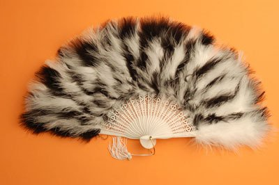 [Marabou Feather Fan - Black & White Alternating 12