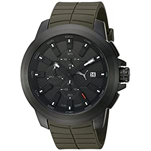 PUMA Men's Quartz Stainless Steel and Polyurethane Automatic Watch, Color:Green (Model: PU103891002)
