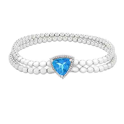Brilliant Designers 2 CT Swiss Blue Topaz & Diamond Accented Stretch Bead Bracelet Set in Sterling Silver 7