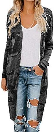 Reokoou Ladies Oversized Long Lightweight Cardigan Jacket Camouflage Long Sleeve Coat Breathable Flowy V-Neck