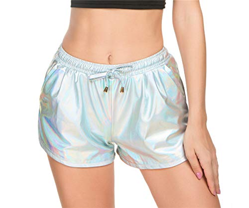 Taydey Women's Yoga Hot Shorts Shiny Metallic Pants with Elastic Drawstring(Multicolor Silver,M)