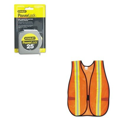 KITBOS33425CRWV201R - Value Kit - Powerlock II Power Return Rule, 1quot; x 25 ft., Chrome/Yellow (BOS33425) and Mcr Safety Orange Safety Vest ()