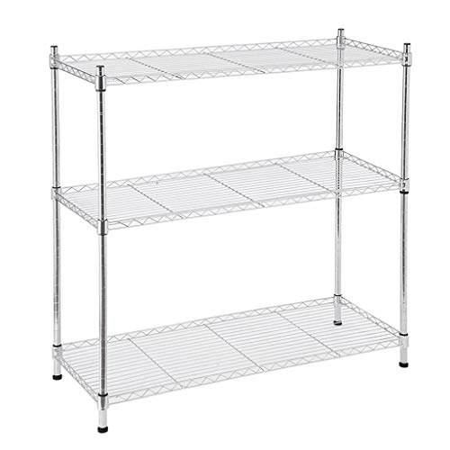 Chezaa Wire Shelving Unit 3 Shelf Metal Storage Rack Durable Organizer with Adjustable Shelves and Leveling Feet Storage Rack, 14'' x 36'' x 36'', Silver, Ship from USA (Silver)