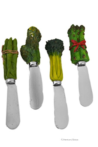 Set 4 Assorted Veggie Bunch Green Vegetable Handle Butter Knives Pate Spreaders