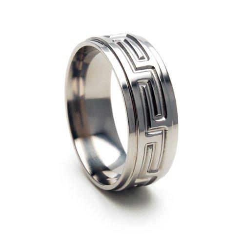 Titanium Ring Wedding Band Greek Key Designs, Men