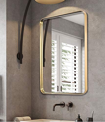 """ANDY STAR Gold Bathroom Mirror,22x30'' Brushed Brass Metal Frame Rounded Corner Wall Mirror,Rectangle Wall Mounted Mirror Glass Panel Hangs Horizontal or Vertical for Bathroom,Vanity,Washroom - An Ornate Gold Mirror: An artistic display on its own, this brass mirror is a beautiful part of any home decorating scheme. Bring simple sophistication to any room with our 22"""" x 30"""" floating glass modern round corner gold metal framed mirror. The plate glass mirror floats in the frame surrounded by a thin 1/12"""" gap. Perfect Bathroom Mirrors for Wall: This 22'' x 30'' inch large mirror is the ideal size for the wall of a bathroom or an entryway. The golden metal frame adds elegance and class. The rounded corners lend a softness to the design. The polished mirror is presenting a beautiful reflection without any distortion of visual, and premium MDF backing prevents corrosion in humid environments,make it perfect for bathroom. Wall Mirrors Decorative for Home: This timeless metal rectangle round corner large mirror matches any room and any decor perfectly. Use as a gold or brass bathroom mirror, vanity mirror, or entry mirror. Add light and enhance the beauty of any room in your home instantly! - mirrors-bedroom-decor, bedroom-decor, bedroom - 41hCT4OpyML -"""