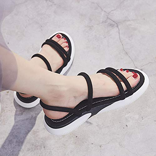 on 37 Nero Summer Shoes Dimensione in donna ZHRUI Beige Toe EU pelle Peep Sandali slip Beach Colore da zUYTAFTa