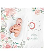 Itzy Ritzy Muslin Milestone Blanket Set; Includes One Blanket and Two Date Markers; Capture Weekly and Monthly Infant Milestones, Floral
