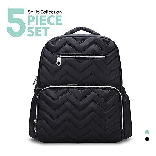 SoHo diaper bag backpack Blake Chevron 5 pieces nappy tote bag for baby mom dad stylish insulated unisex multifunction large capacity waterproof durable includes changing pad stroller straps Black (Designs Soho)