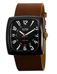 EOS New York Men's 100LBRN Accomplish Brown Leather Strap Watch