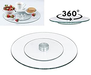 "10"" Tempered Glass Rotating Lazy Susan Turntable Serving Plate"