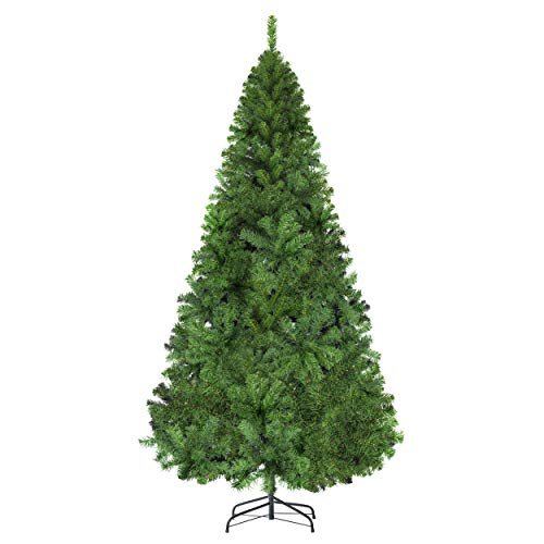 LUTER 7.5 Ft Artificial Christmas Tree Spruce Hinged Xmas Tree Christmas Decorations for Indoor Easy Assembly 1450 Branch Tips with Metal Stand(Green)