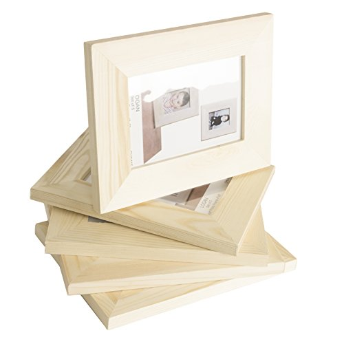 WALLNITURE Ready to Paint DIY Picture Frames Unfinished Wood 5x7 Set of 5 (Wooden Photo Frames)