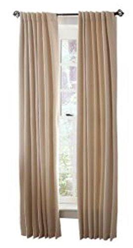 (Heavy Cream Faux Silk Room Darkening Back Tab Curtain - 54 in. W x 84 in. L )