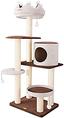 RKY Árboles para Gatos- Corona Gato Escalada Marco Grande sisal Columna Gato Garra Garra Gato Dormir Nido Gato árbol Marco uno marrón Gris /-/: Amazon.es: Hogar