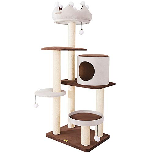 DDSS Cat tree- Crown cat Climbing Frame Large sisal Column cat Claw Claw Board cat Sleeping nest cat Tree Frame one Brown Gray /-/