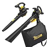 Leaf Blower Vacuum, TECCPO 12-Amp 250MPH 410CFM 3 in 1 Corded Electric Two-Speed Professional Sweeper/Vac/Mulcher with Powerful Motor and Metal Blade - TABV01G